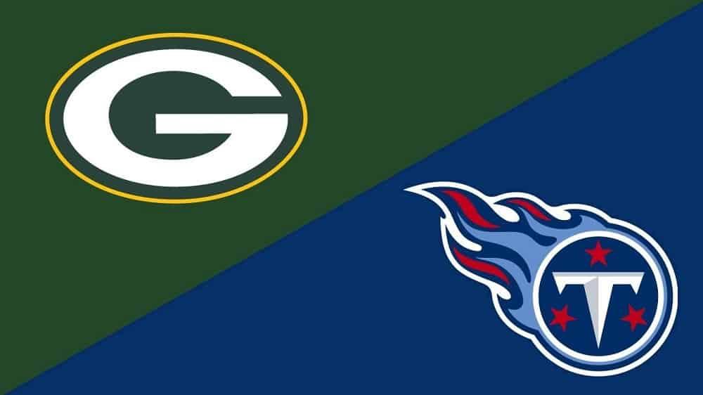 Packers vs Titans logo image.