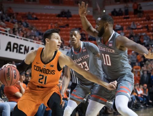 Texas Tech Red Raiders Men's Basketball doubled teamed by the sooners