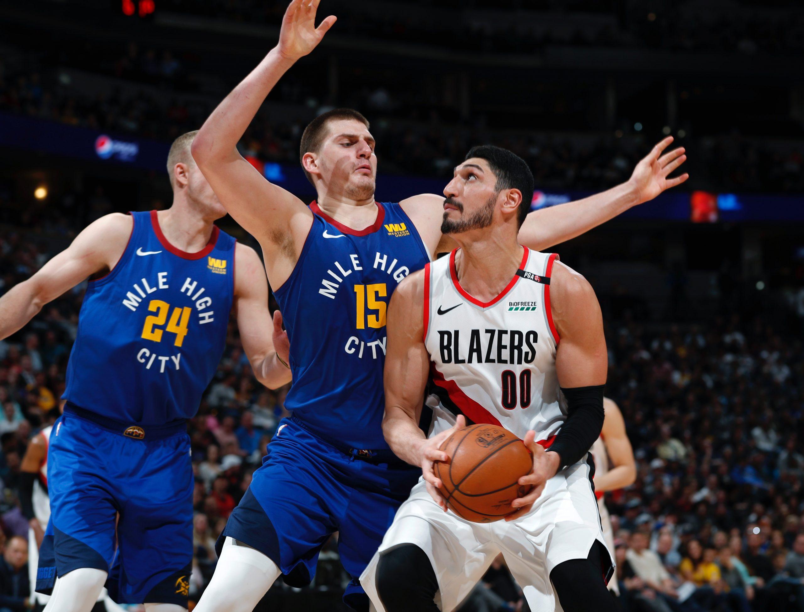 Denver Nuggets vs. Portland Trail Blazers basketball game.